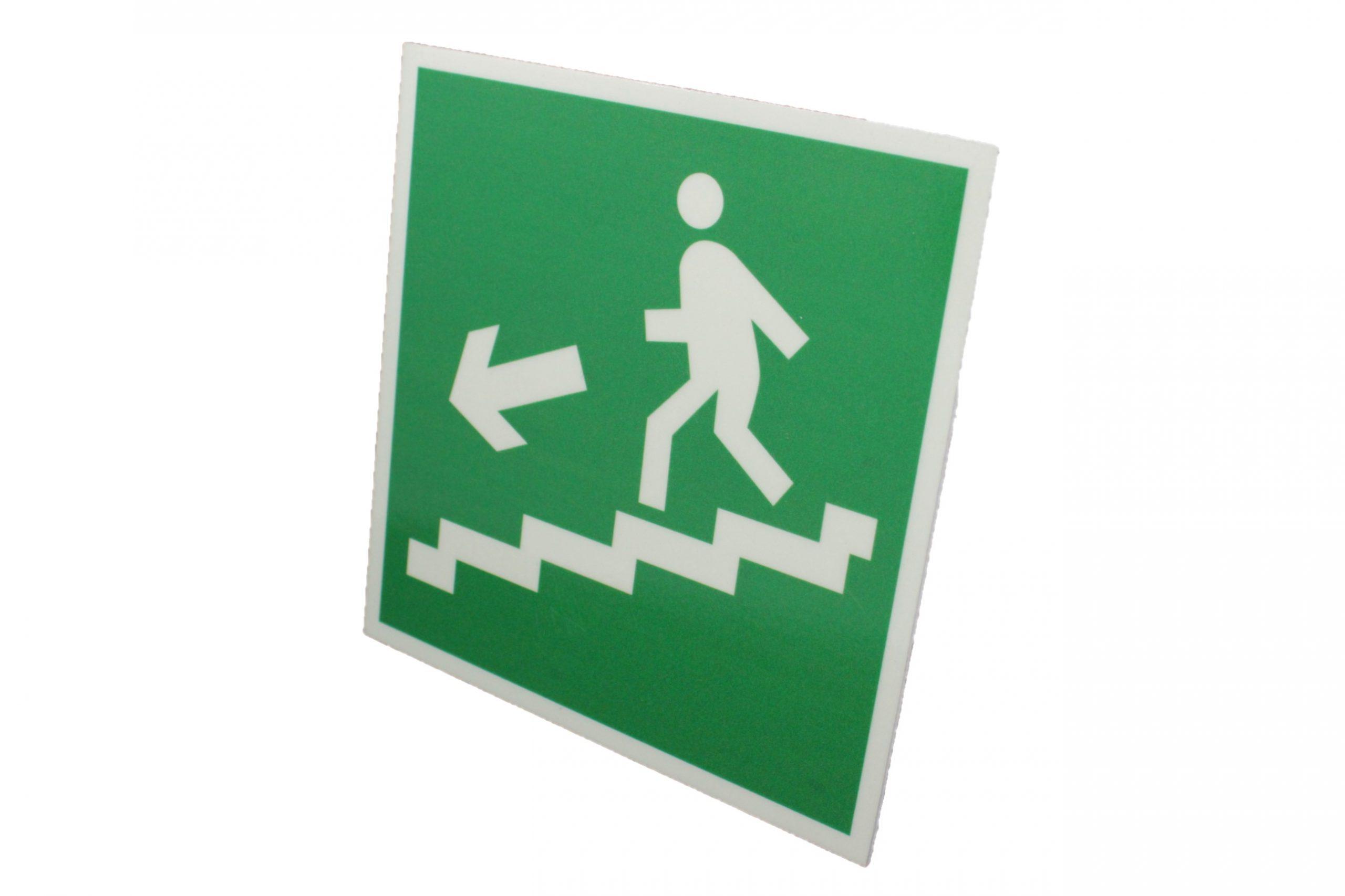 Знак эвакуации фотолюминесцентный по лестнице вниз левый