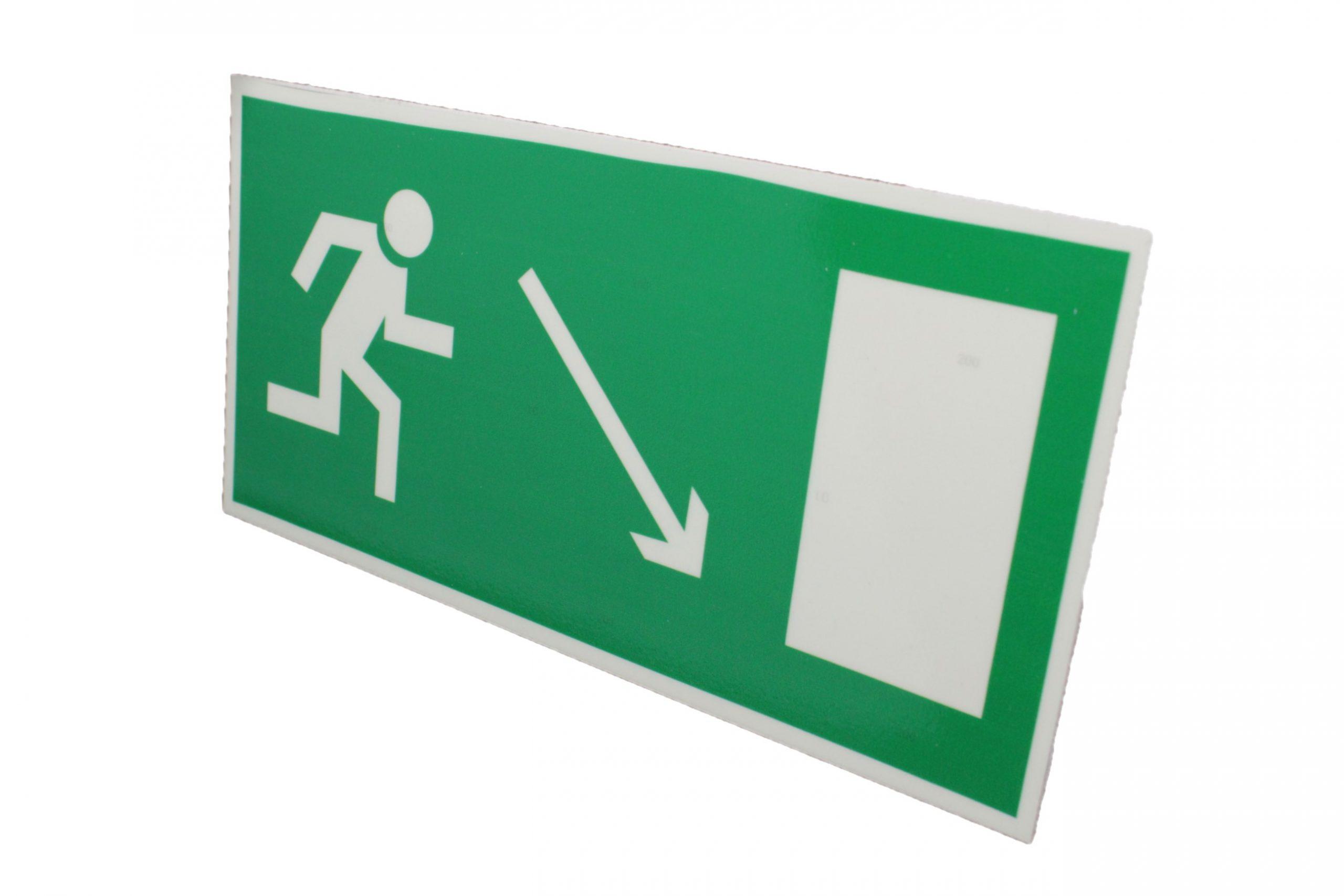 Знак эвакуации фотолюминесцентный выход направо вниз