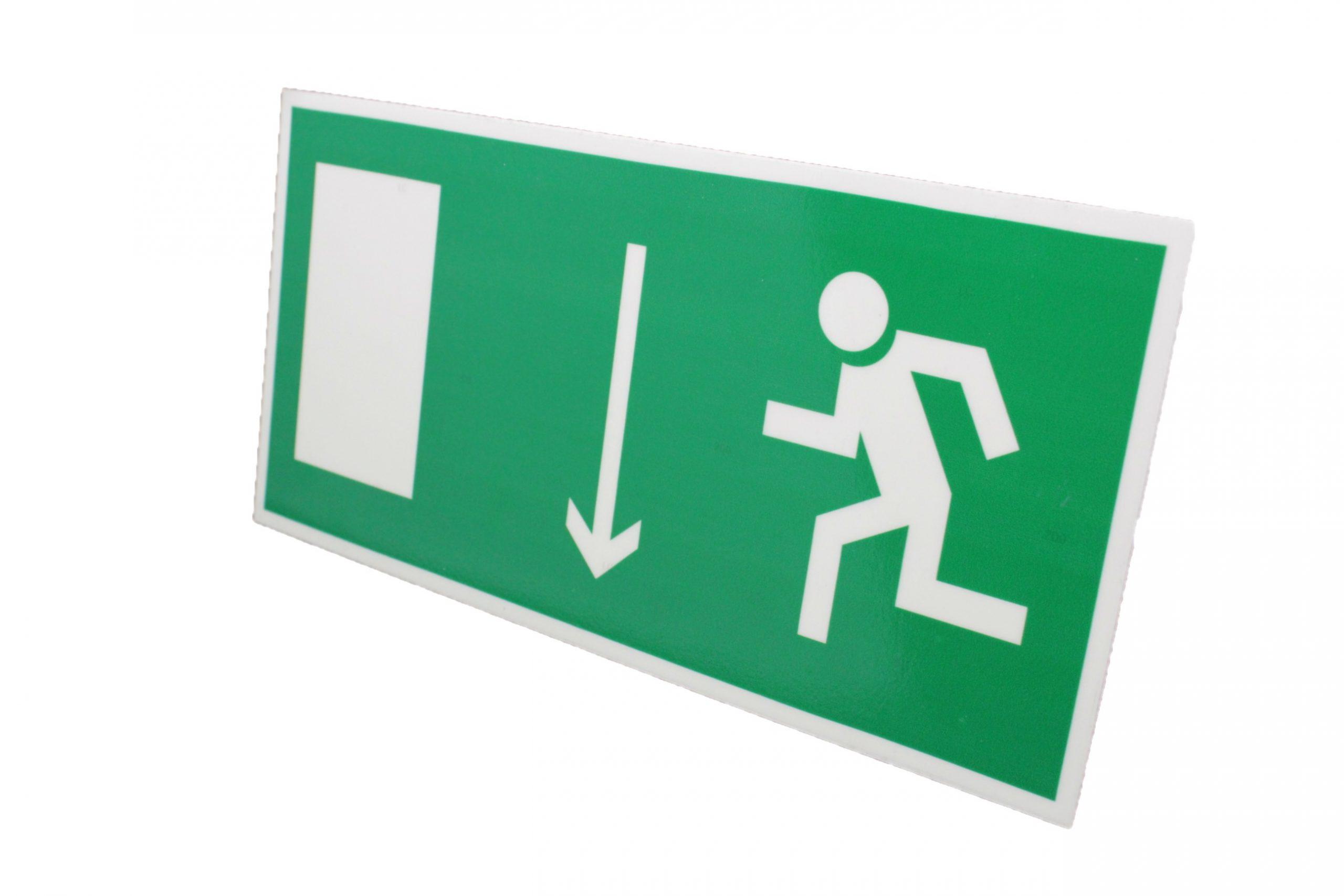Знак эвакуации фотолюминесцентный указатель двери левый
